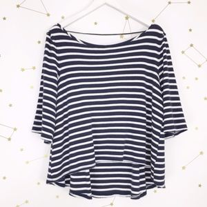 Free People • Navy Blue Striped Cannes Tee Top M